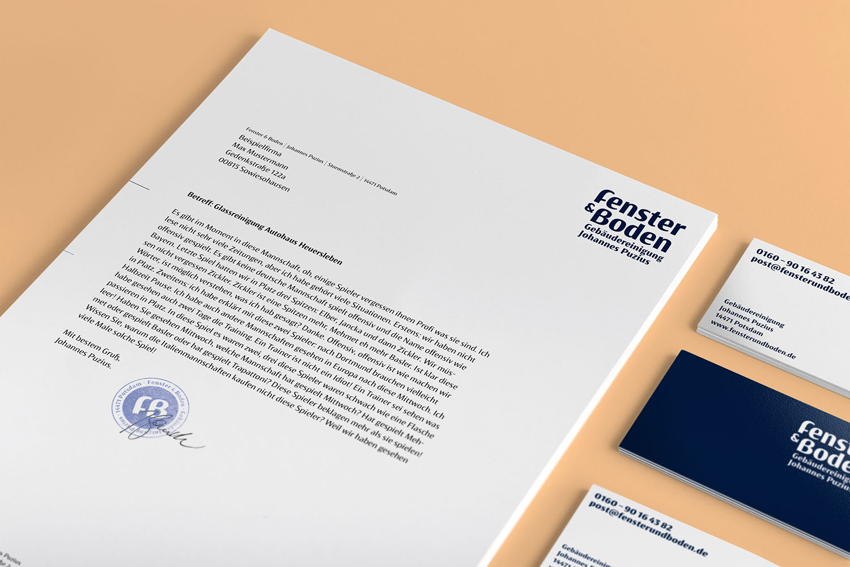 Corporate Design Potsdam Fenster und Boden Geschäftsausstattung