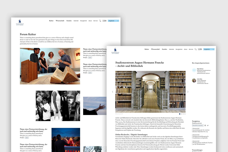 UX / UI Website Design Potsdam Franckesche Stiftungen Halle anschlaege.de dynamisches Layout