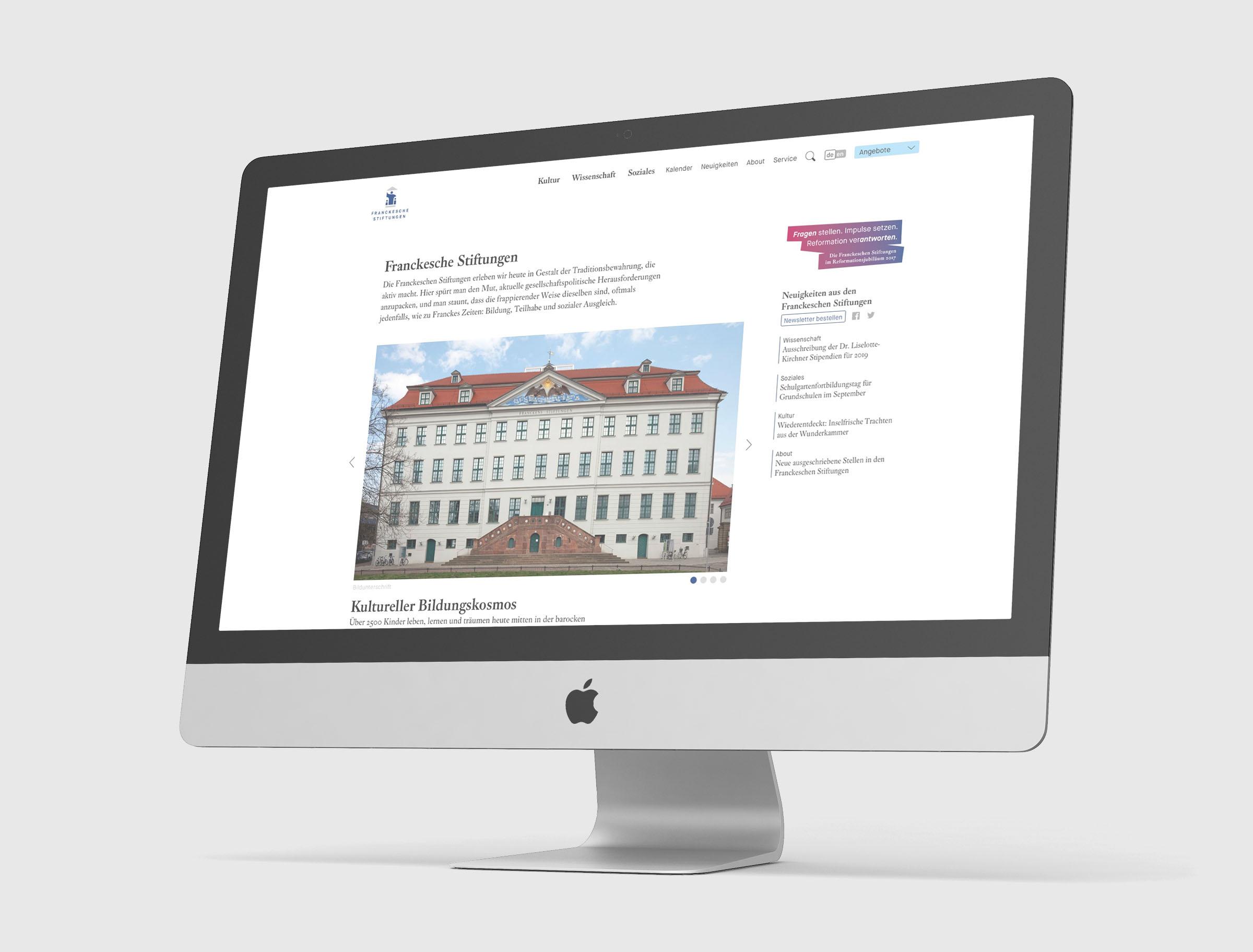 UX / UI Website Design Potsdam Franckesche Stiftungen Halle anschlaege.de Startseite