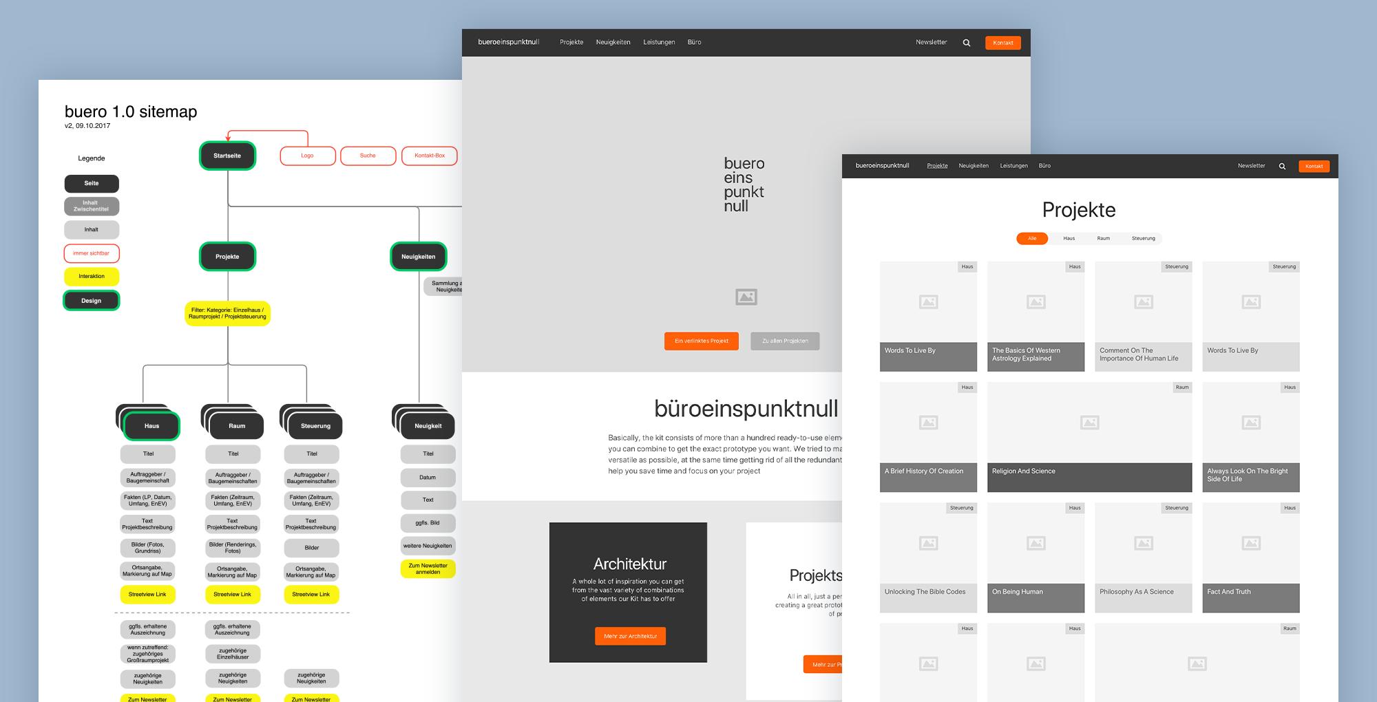 UX / UI Website Design Potsdam buero 1.0 Architektur Konzept Wireframes