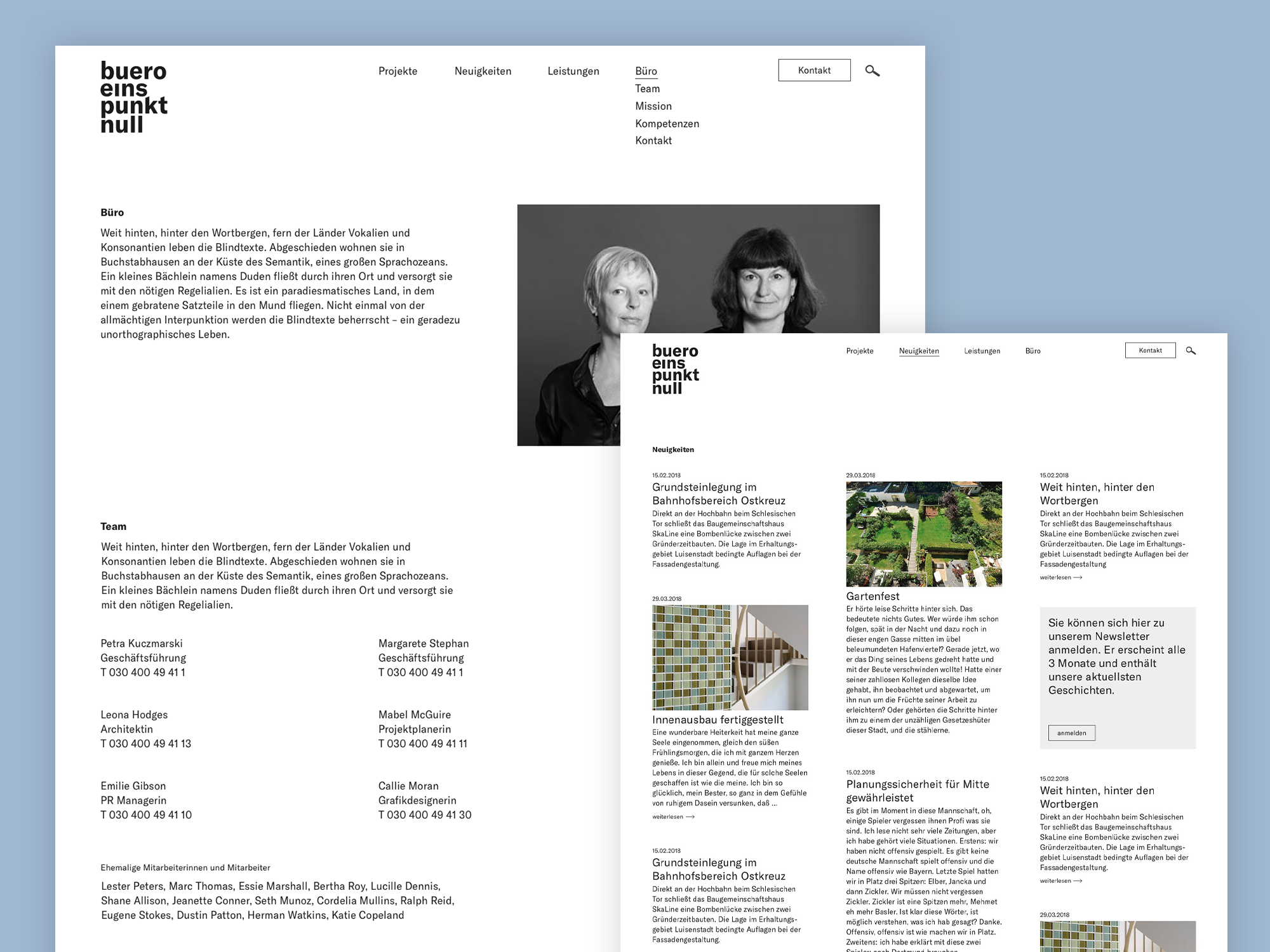 UX / UI Website Design Potsdam buero 1.0 Architektur Konzept Screens