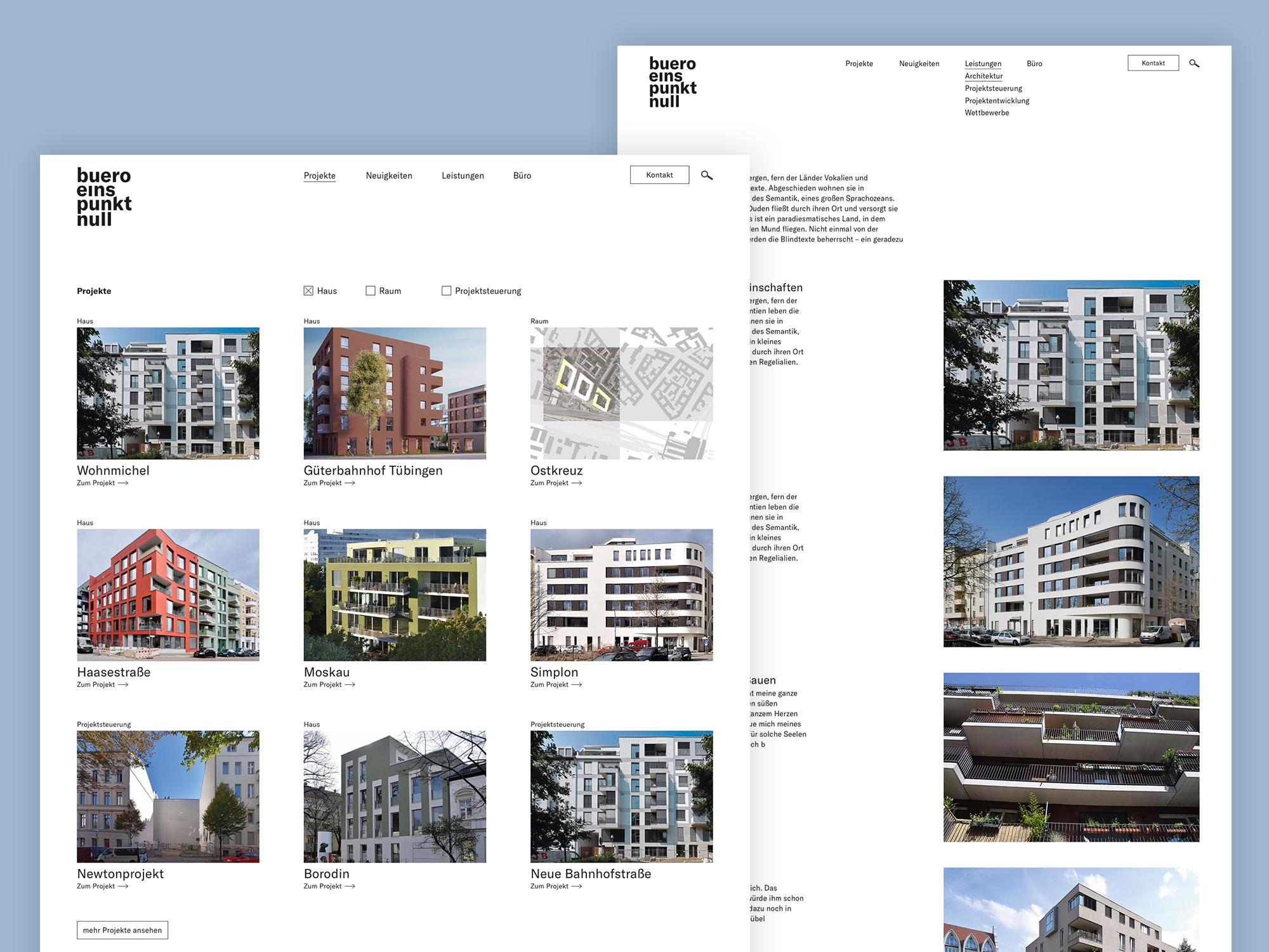 UX / UI Website Design Potsdam buero 1.0 Architektur Konzept Portfolio
