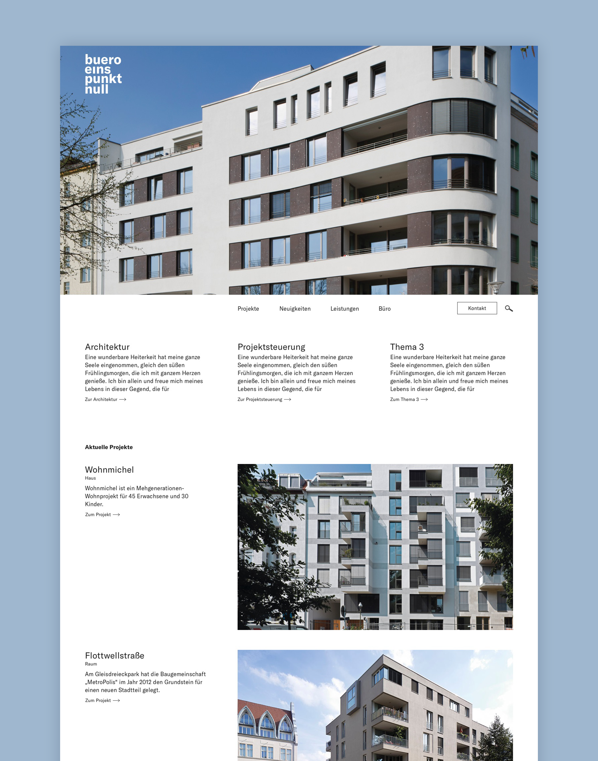 UX / UI Website Design Potsdam buero 1.0 Architektur Konzept Detail