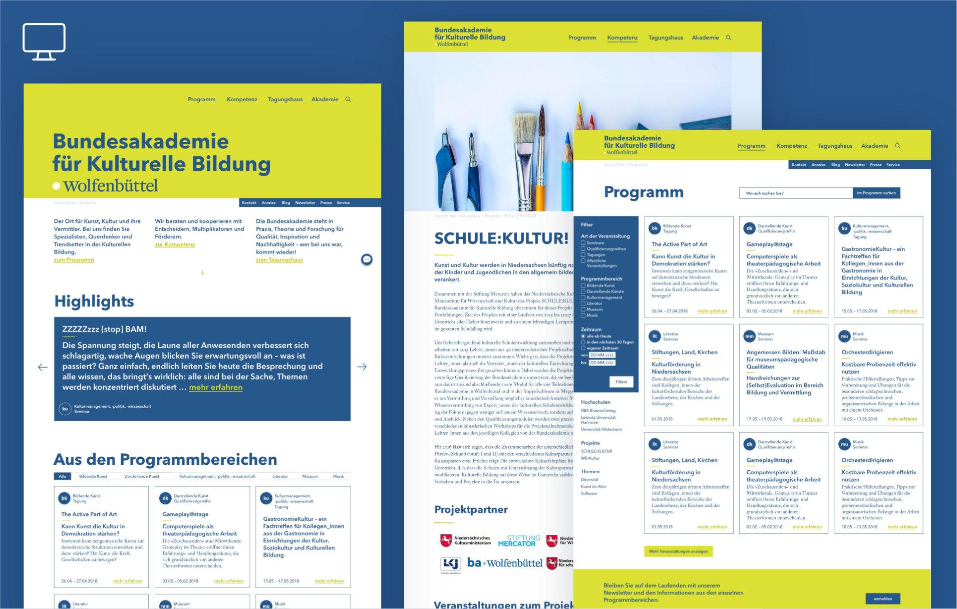 UX / UI Website Design Potsdam Bundesakademie Wolfenbuettel Desktop