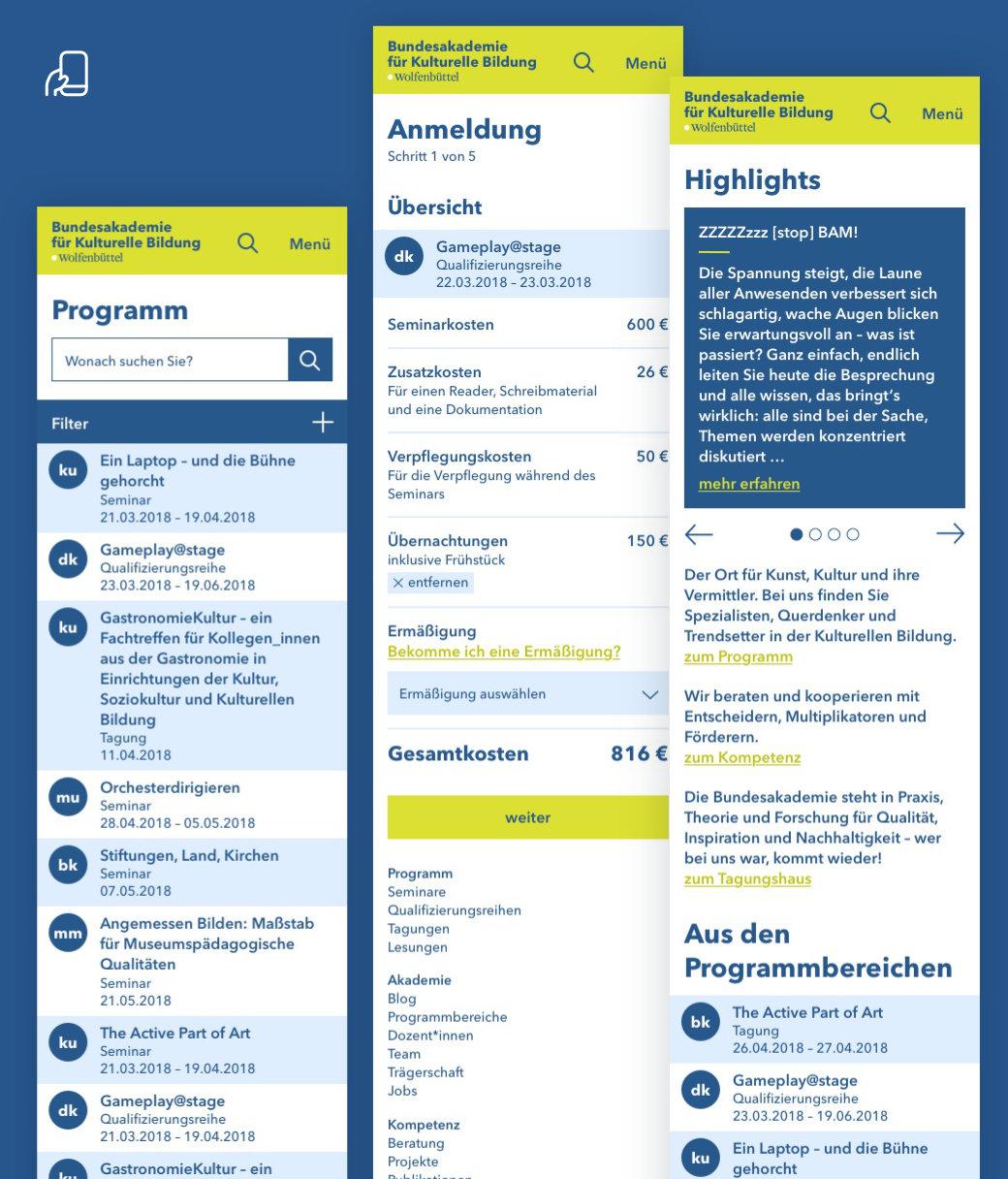 UX / UI Website Design Potsdam Bundesakademie Wolfenbuettel Mobile