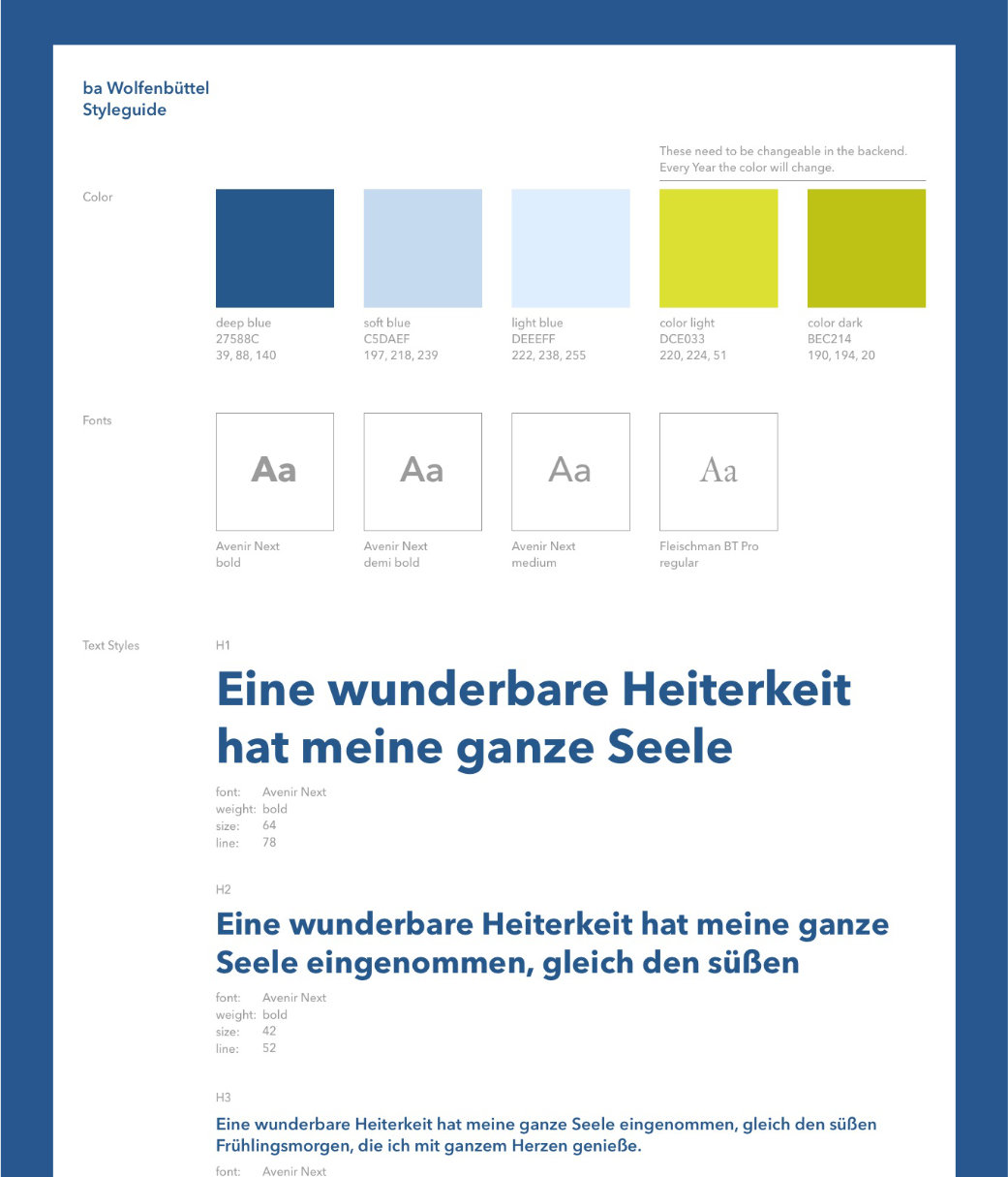 UX / UI Website Design Potsdam Bundesakademie Wolfenbuettel Styleguide