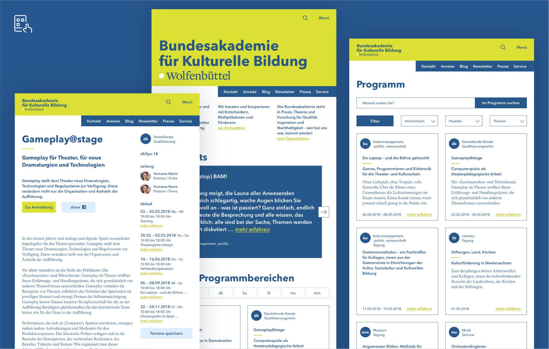UX / UI Website Design Potsdam Bundesakademie Wolfenbuettel Tablet
