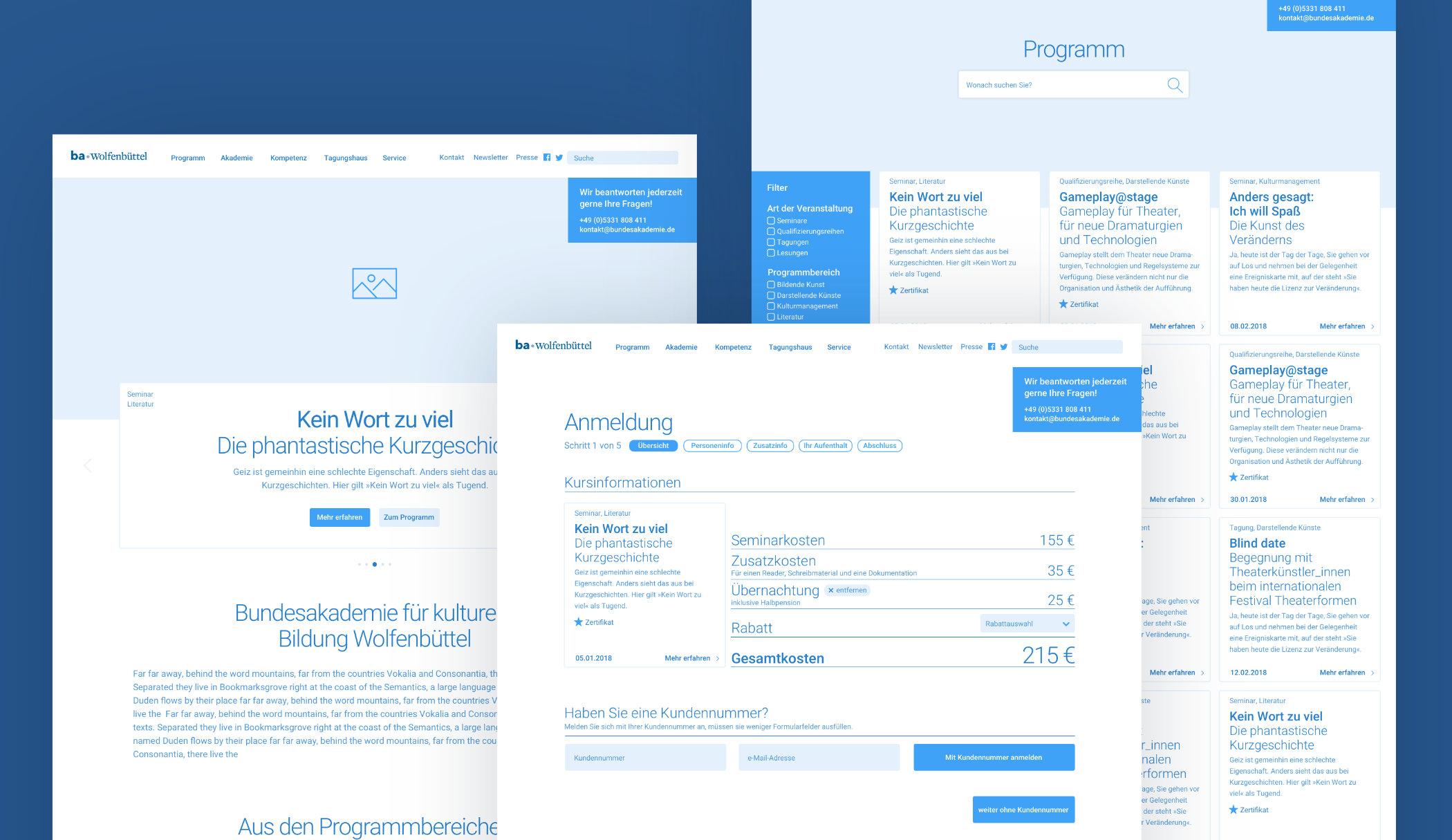 UX / UI Website Design Potsdam Bundesakademie Wolfenbuettel Wireframes