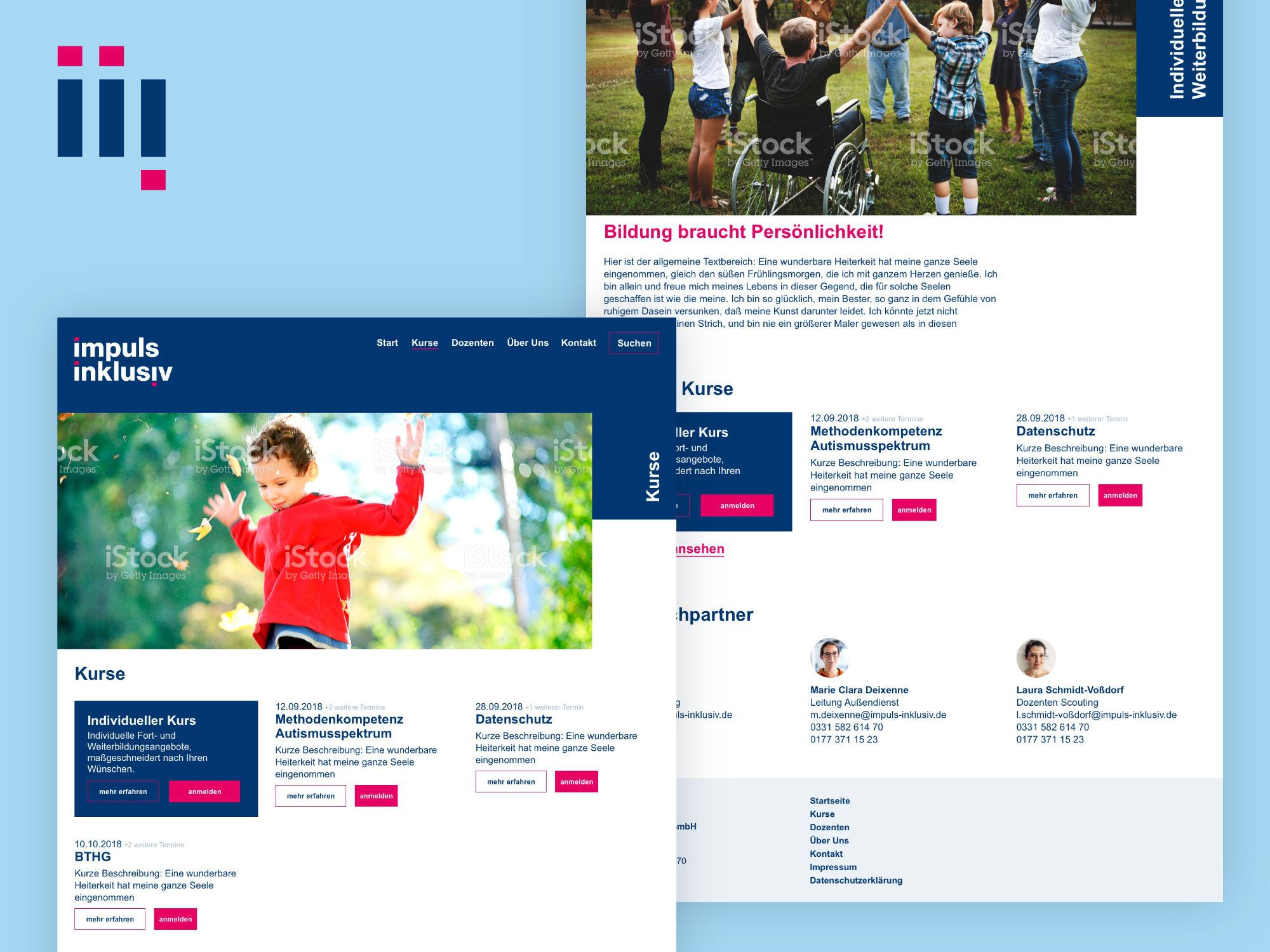Brand Design Potsdam Impuls Inklusiv Website